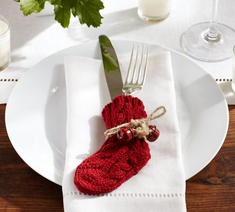 Knitting Pattern For Christmas Cutlery Holder : Image